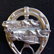 Vintage Horse Pin w Two Horse Heads Framed in Horseshoe