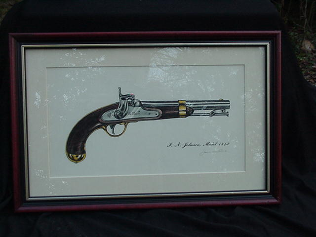 James W. Kalman Flintlock Pistol Print, I.N. Johnson Model 1842