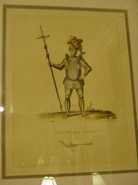 Hand-Colored Plate Engraving of Knight in Long Bellied Armour