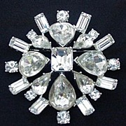 Fabulous Rhinestone Pin, All Prong Mounted Stones, Silvertone Metal