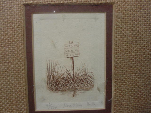 Small Edition Etching of Seashore Sign, Mellen