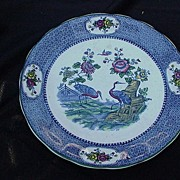 English Staffordshire Pottery Plate, Blue Border, Cranes, Oriental Influence