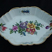 Vista Alegre Mottahedeh Porcelain Tray, Florals, Insects, Gold Rim