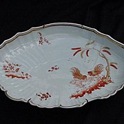 Richard Ginori Oval Porcelain Tray, Siena Pattern, Roosters, Rust and Gold