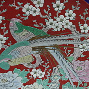 Occupied Japan Charger, Birds of Paradise in Peony Tree, Reds, Blues, Golds