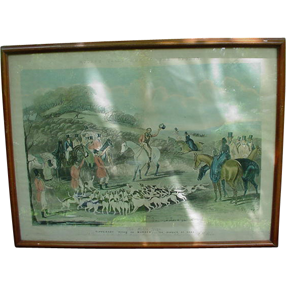 19th C. English Hunt Scene Engraving, Proof, F.C.Turner
