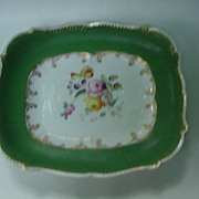 19th C. Porcelain Rectangular Tray, Wide Green Border, Floral Center
