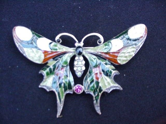Exquisite Vintage Enamel Butterfly Pin with Colored Rhinestones
