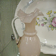 Vintage Fenton Glass Ewer in Palest Peach