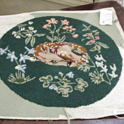 Needlepoint Pillow, Fawn Resting Among Flowers