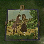 Old Spanish Pictorial Tile Plaque, Iron Straps for Hanging