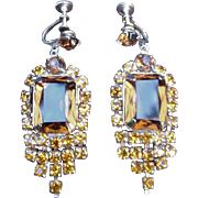 Topaz Colored Rhinestone Earrings w Screw Backs, Prong-Mounted Stones