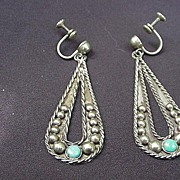 Mexico Sterling Earrings, Screw Backs, Dangling Paisley Teardrop Design w Turquoise Stone