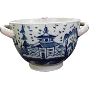 Doubled Handled Blue and White Antique Bowl w Chinoiserie Decoration