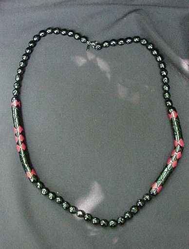 Vintage Black & Red Monet Necklace, Plastic and Lacquered Beads
