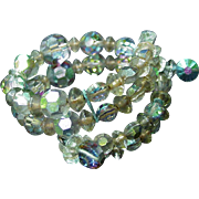 Aurora Borealis Beaded Bracelet , Wraparound, Snap On A