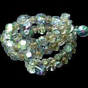 Aurora Borealis Beaded Bracelet , Wraparound, Snap On A