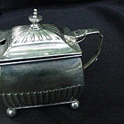 Silverplated Mustard Pot w Cobalt Liner, England, 1883 Registry Mark