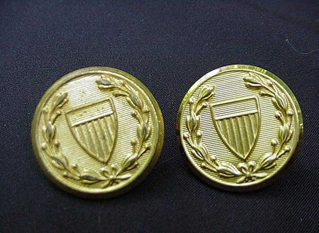 Set of Waterbury Button Co. Brass Buttons with Shield