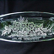 Oblong Silver Overlay Crystal Dish