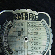 Metal Pocket Calendar Calculator 1948-1975