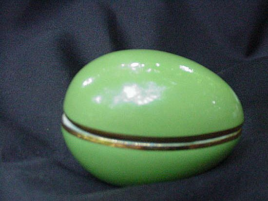 Apple Green Limoges Porcelain Egg w Gold Accents