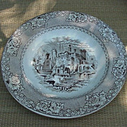 19th C. Brown Transferware Soup Plate, Alhambra Pattern