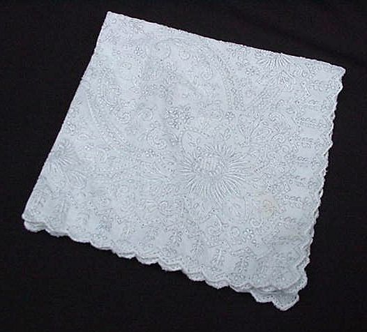 Vintage Embroidered Wedding Handkerchief, Flowers and Hearts