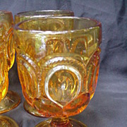 Six Early American Pressed Glass Goblets, Moon & Stars Pattern, Amber