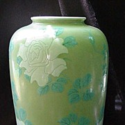 Magnificent Ovoid Celadon Japanese Vase w White Flowers, Turquoise Leaves