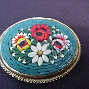 Micro Mosaic Floral Pin, Gold Tone Frame, Italy