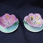 Lefton Porcelain Flower Cups and Saucers, Japan