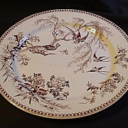 Brown Transferware Bird Plate, Thomas Elsmore & Son, England