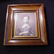 Vintage Print  A Girl with a Kitten , 1745 Portrait by Perroneau