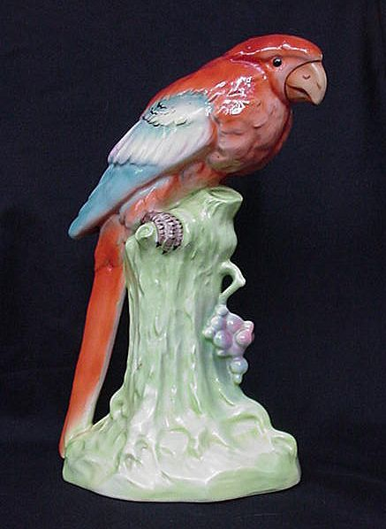 Colorful Vintage Czechoslovakia Parrot Figurine, Tree Trunk Pedestal Base