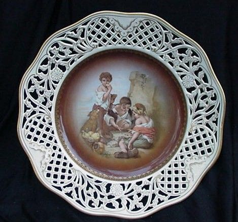 Schumann Germany Porcelain Plate, Pierced Border, Gold Decoration