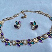 Trifari Goldtone Necklace and Earrings, Green, Red and Amethyst Stones and Simulated Pearls