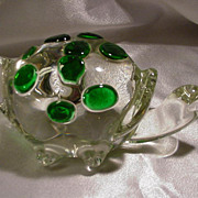Vintage Turtle Clear Glass Paperweight , Green Spots