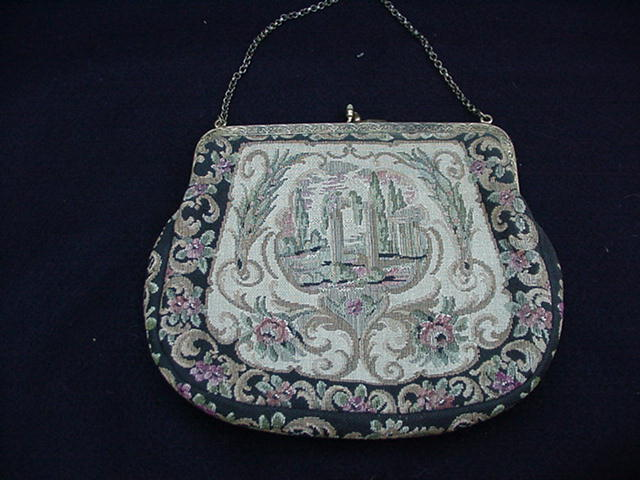 Vintage Petit Point Purse with Goldtone Metal Frame