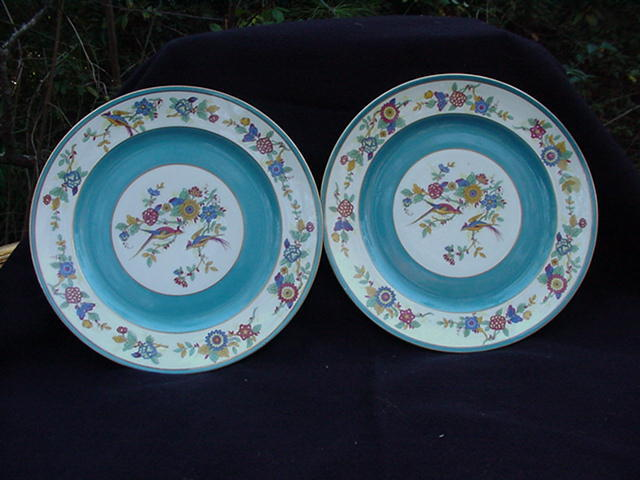 Pair of Charles Ahrenfeldt, Limoges, Dinner Plates, Retailed by Ovington