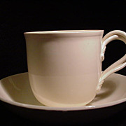 Classic Creamware Cup and Saucer, Vintage Leedsware, England