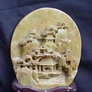 Soapstone Medallion w Carved City Mounted in Stand