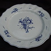 19th C.Blue and White Plate, Embossed Basket Weave Border, Scalloped Rim