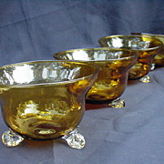 Set of Six Amber Crystal Bowls, Applied Clear Feet