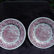 "Pr. of Enoch and Ralph Woods ""Seaforth"" Pattern, Red Transfer Plates, Burslem, England,"