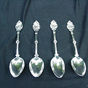 Four Medallion Coin Silver Teaspoons, Warrior's Head