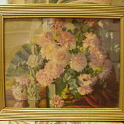 Vintage Print of Still Life Arrangement, Japanese Statue, Fan and Floral Arrangement of Chrysanthemums