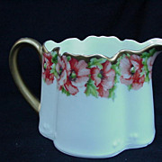 Royal Munich  Porcelain Cream Pitcher. Gold Handle, Poppies
