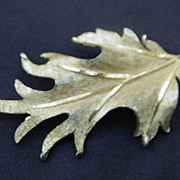 Large, Vintage RSK, Brushed Gold-Tone Metal Oak Leaf Pin