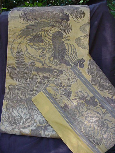 Vintage Obi with Birds of Paradise, Chrysanthemums, Pine Images